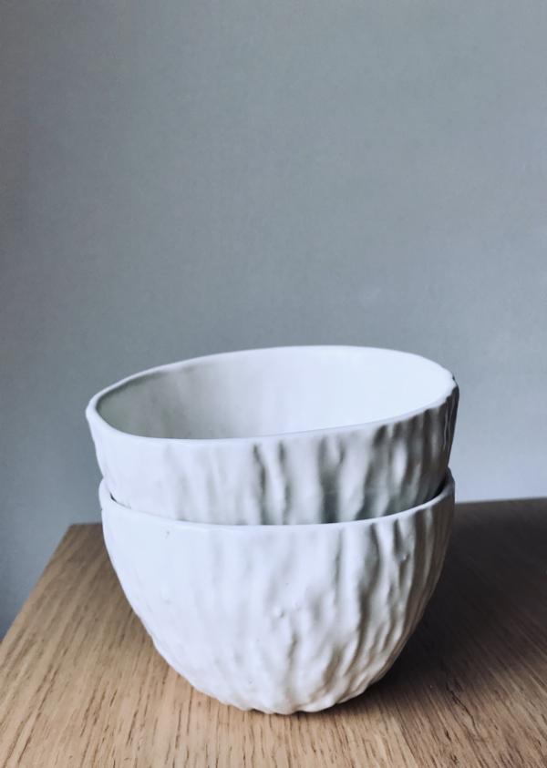 bol ceramica artesanal blanco apilable